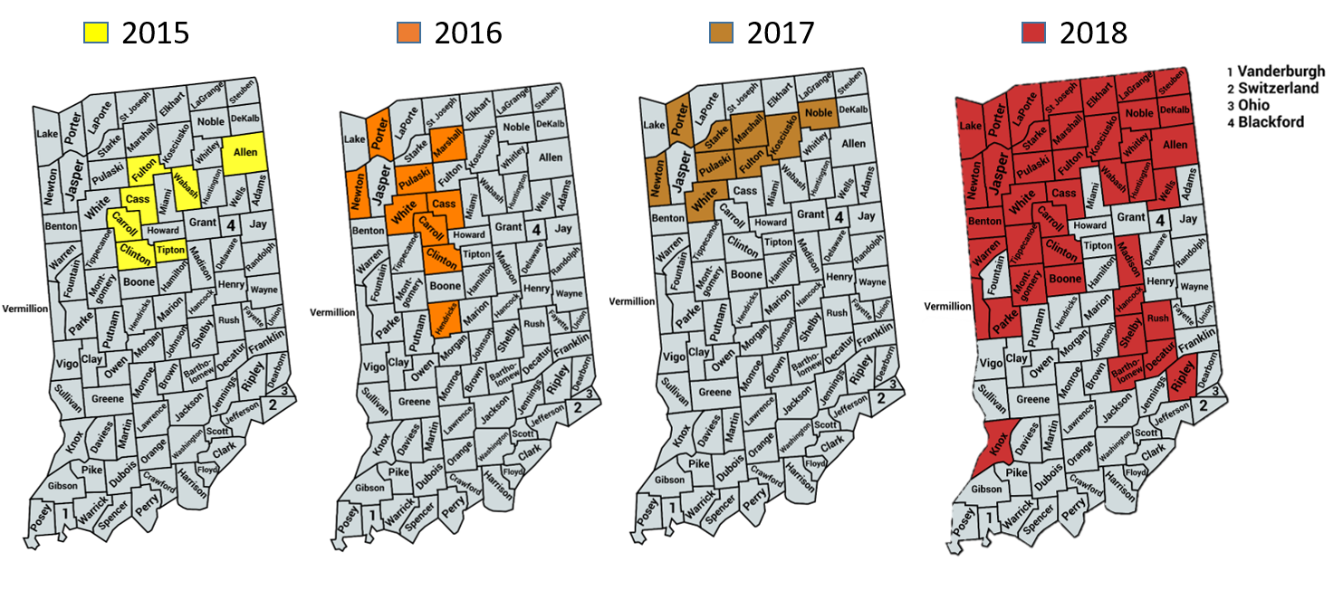 Distribution of Corn Tar Spot in Indiana