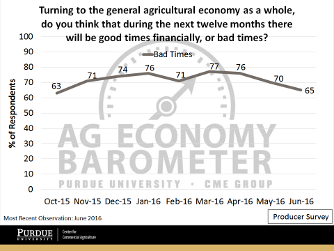 "Figure 5. Share of Respondents Expecting the broad Ag Economy to experience ""bad times"" financially during the next twelve months."