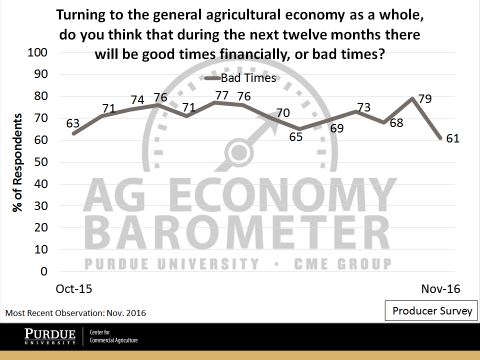 Figure 5. Producers Expectation of the Ag Economy over the Next 12 Monthly. October 2015 to November 2016.