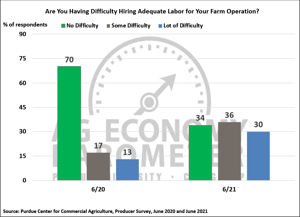Figure 8. Are You Having Difficulty Hiring Adequate Labor for Your Farm Operation?, June 2020 and June 2021.