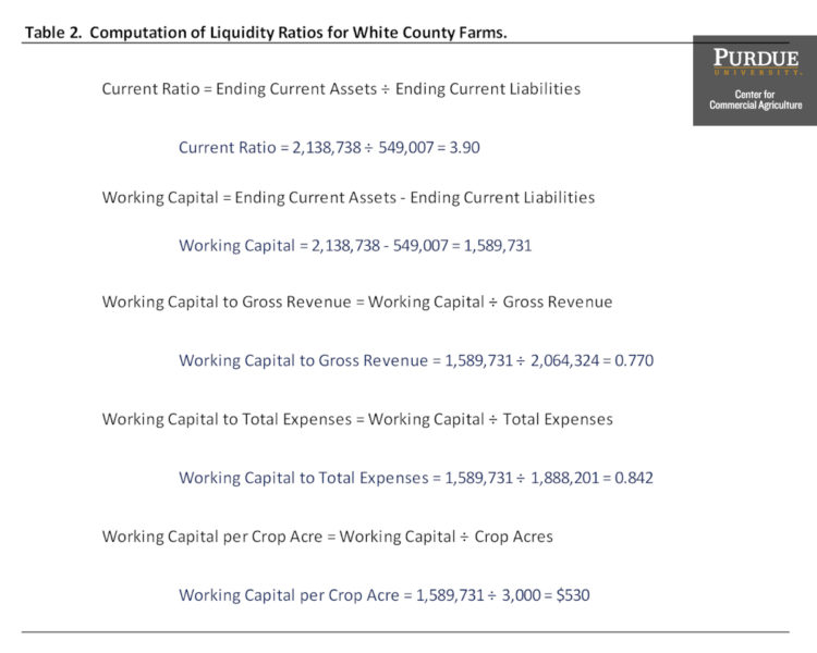Table 2. Computation of Liquidity Ratios for White County Farms