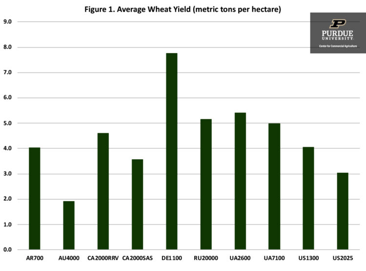 Figure 1. Average Wheat Yield (metric tons per hectare)