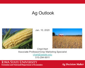 Ag Outlook, Top Farmer 2020 slidedeck presentation by Chad Hart, Associate Professor of Economics, Iowa State University.
