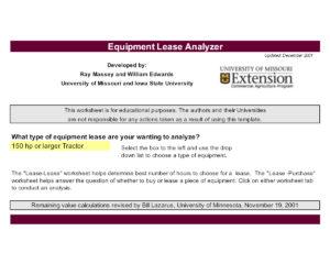 University of Missouri Equipment Lease Analyzer