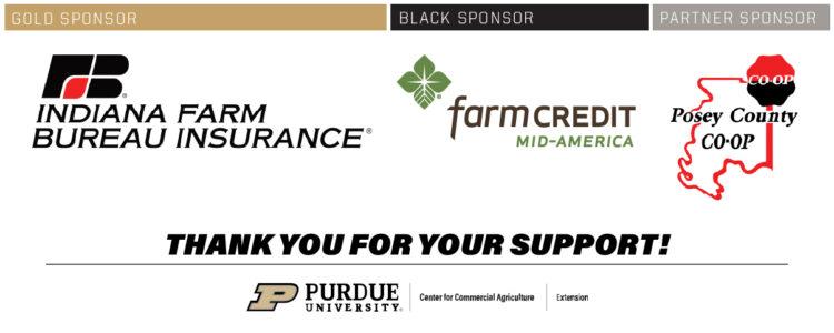 Purdue Farm Management Tour and Master Farmer sponsor logos: Indiana Farm Bureau Insurance, Farm Credit Mid-America, and Posey County CO-OP