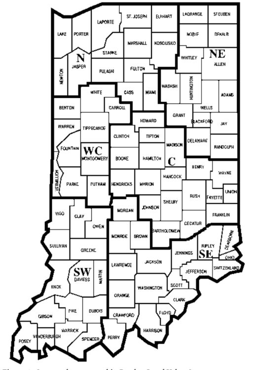 Figure 1. County clusters used in Purdue Land Value Survey to create geographic regions