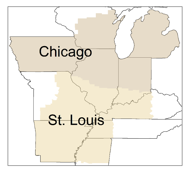 Figure 1: Chicago and St. Louis Federal Reserve Districts