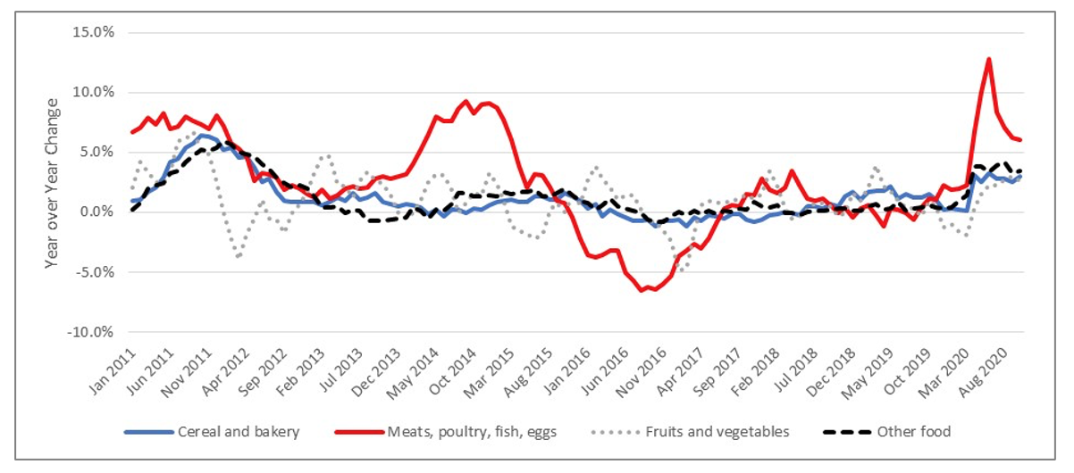 Figure 2. Year over Year Changes in Monthly Prices of Four Grocery Categories