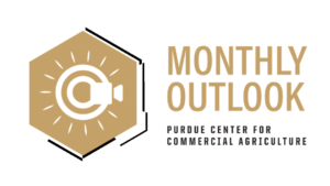 Monthly Outlook, Purdue University Center for Commercial Agriculture logo