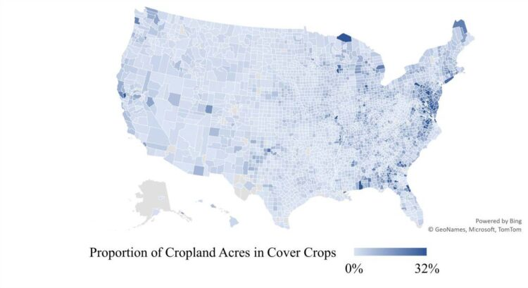 Figure 2. Proportion of Cropland Acres in Cover Crops. Source: USDA National Agricultural Statistics Service, 2017 U.S. Census of Agriculture.
