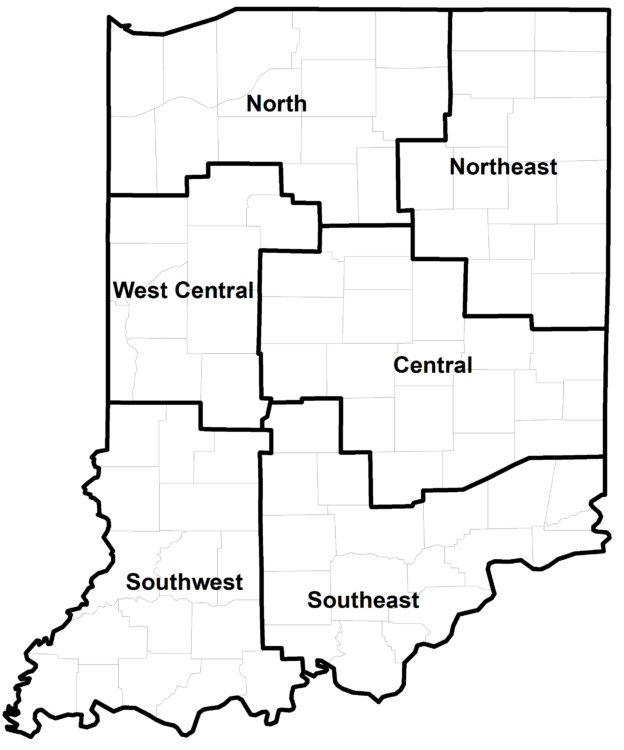 Figure 1: County clusters used in Purdue Land Values survey to create geographic regions