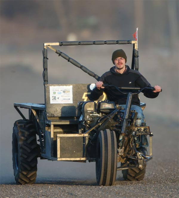 Alumnus David Wilson drives the AgRover