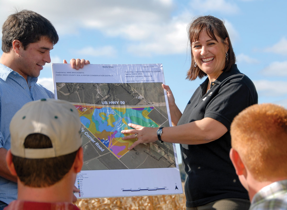 Susan Brocksmith shows an aerial map