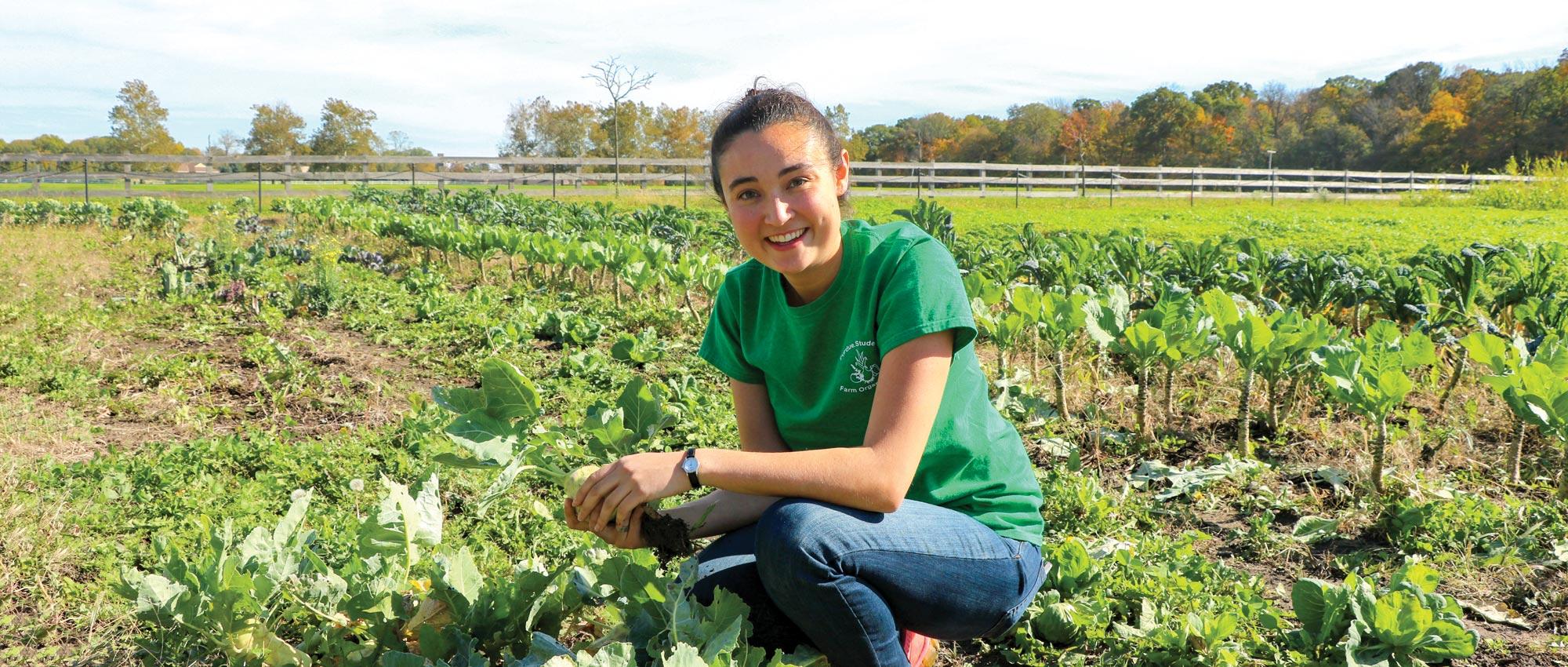 Sabrina Myoda holds a rutabaga in a field