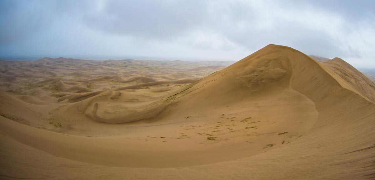 Sand blows across these Khongoryn dunes