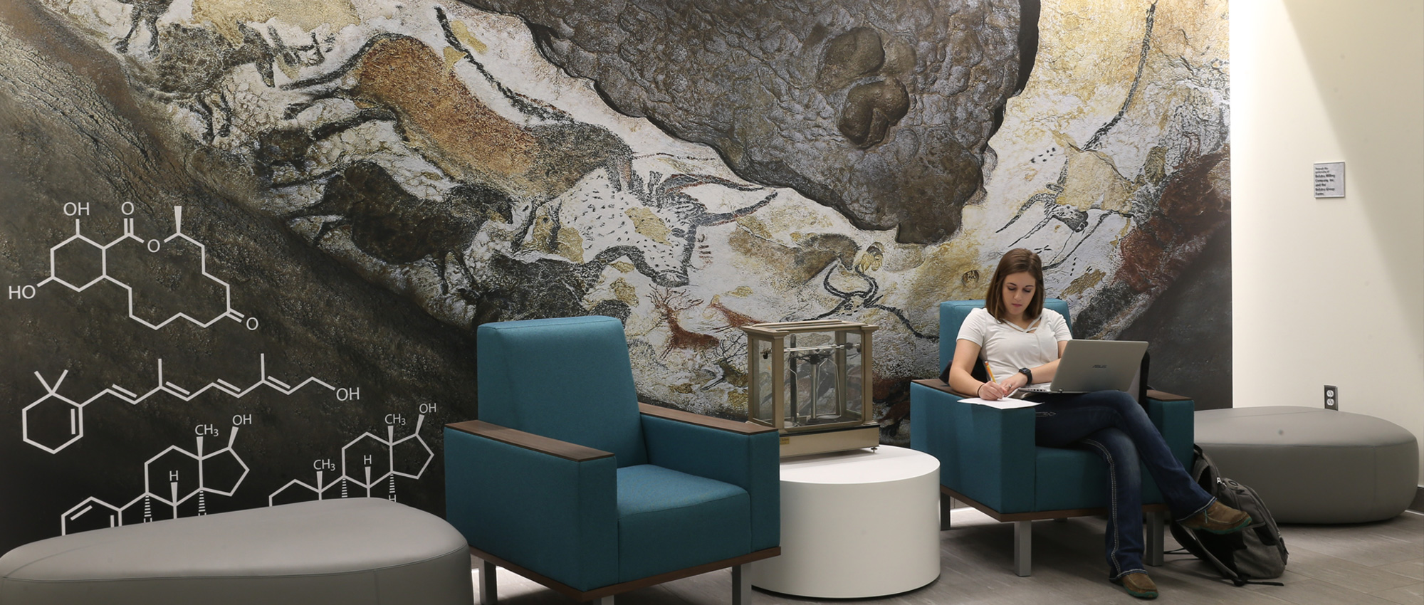 A woman sits in front of a cave painting style mural in the Hobart and Russell Creighton Hall of Animal Sciences and Land O'Lakes, Inc. Center for Experiential Learning