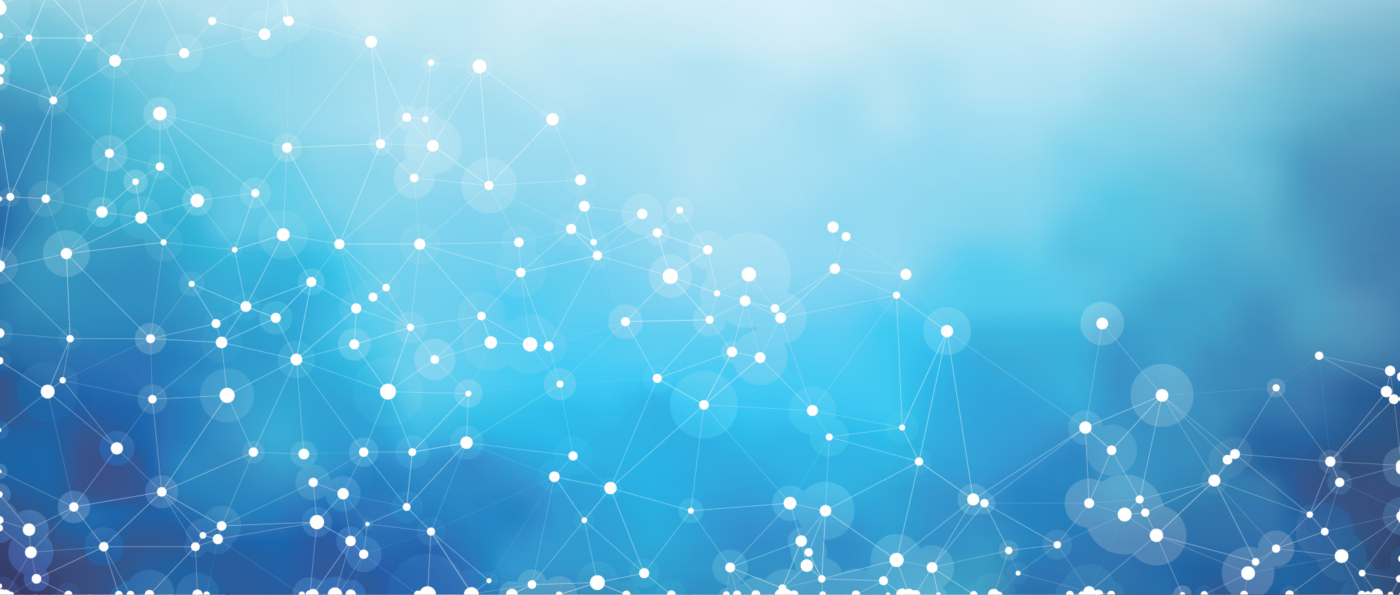 Blue digital decorative background with interconnected white dots