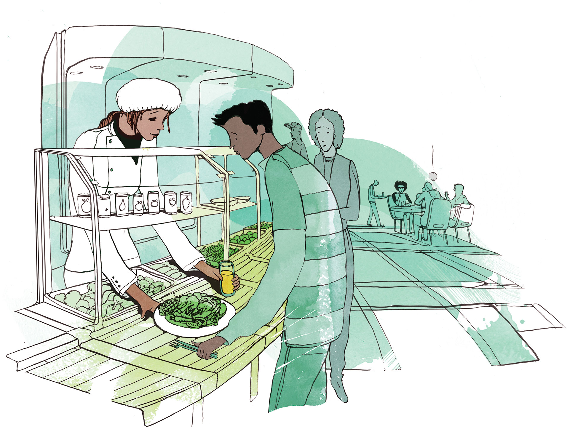 Illustration of student cafe