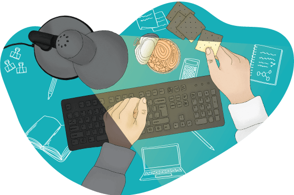 Person at desk with snack illustration