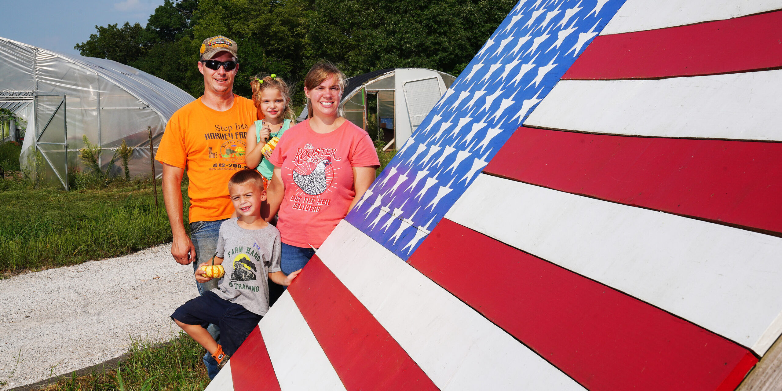 family with american flag