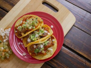 Tacos on a plate.