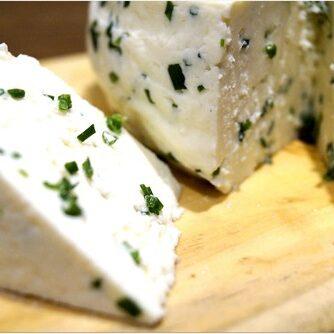 A block of queso fresco cheese.