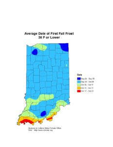 Avg date of first fall frost 36 or lower