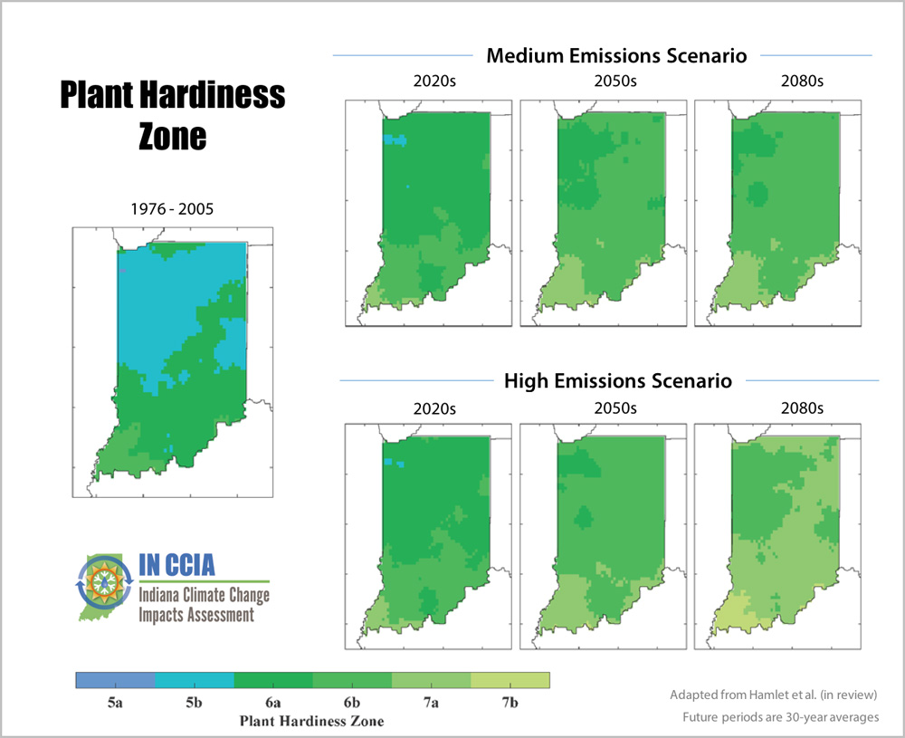diagram showing plant hardiness zones under different emissions scenarios