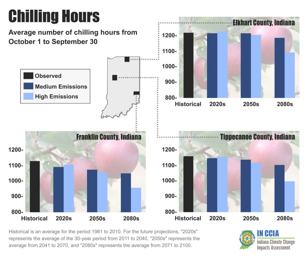 Average number of chilling hours from October 1 to September 30