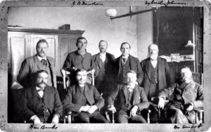 Photo of The Purdue Board of Trustees with President Smart, circa 1883 to 1900. From e-Archives, PADA0000014. Purdue University Archives and Special Collections, Purdue University Libraries.