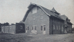 Photo of the New horse barn on the Purdue farm, 1919.