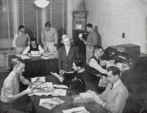 Photo of Students preparing The Agriculturalist issue for December 1942.