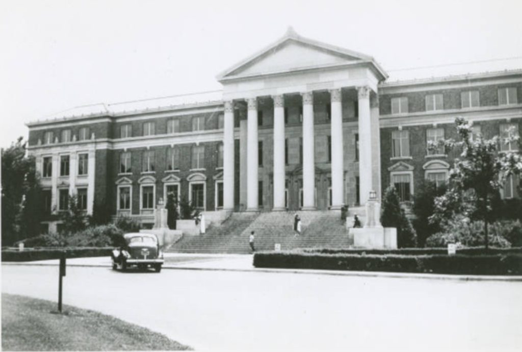 Photo of Hovde Hall in the 1940s. From e-Archives, PPBUC02111. Purdue University Archives and Special Collections, Purdue University Libraries.