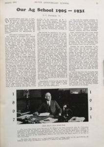 "Photo of the first page of ""Our Ag School,"" a magazine article by D.C. Pfendler '32"