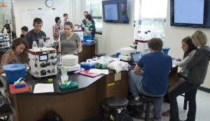 College of Agriculture, Biochemistry new lab. Students and professor working in new biochemistry lab. (Purdue University/ Mark Simons)