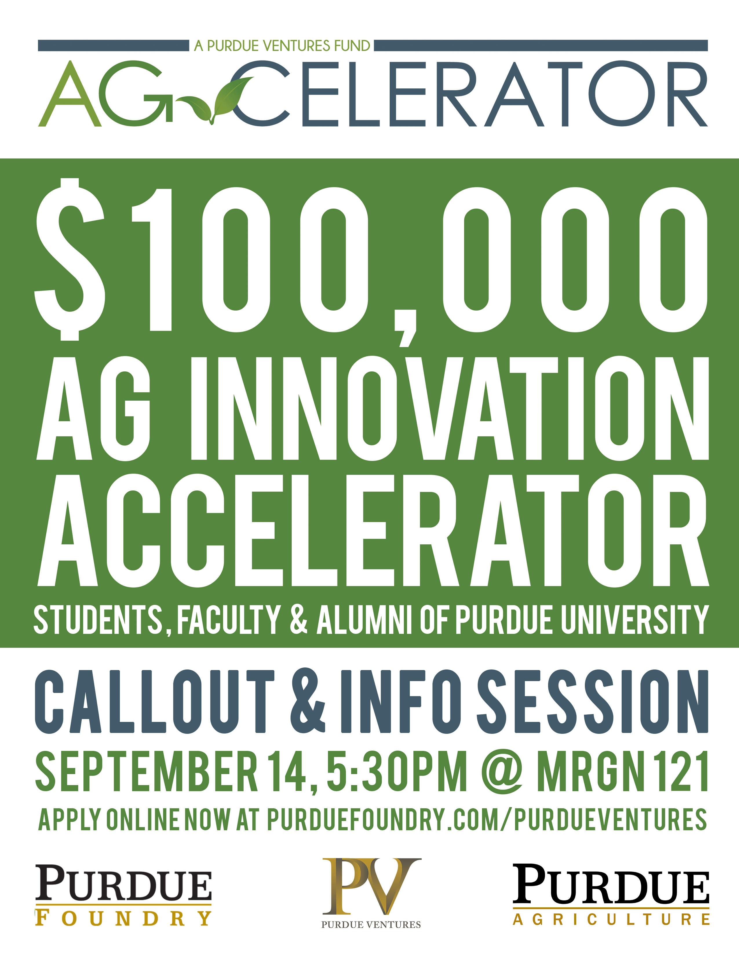 Ag-celerator fund to provide up to $100,000 for Purdue agriculture startups; callout meeting is Sept. 14