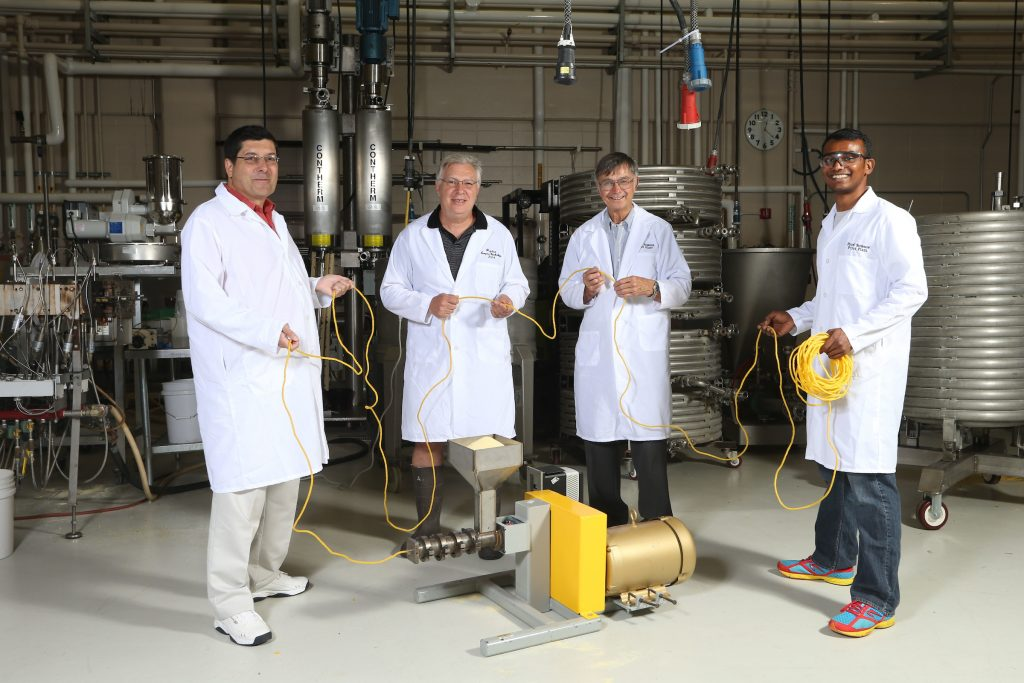 Team of faculty who are working on an extrusion machine that will work in Africa and on Mars.