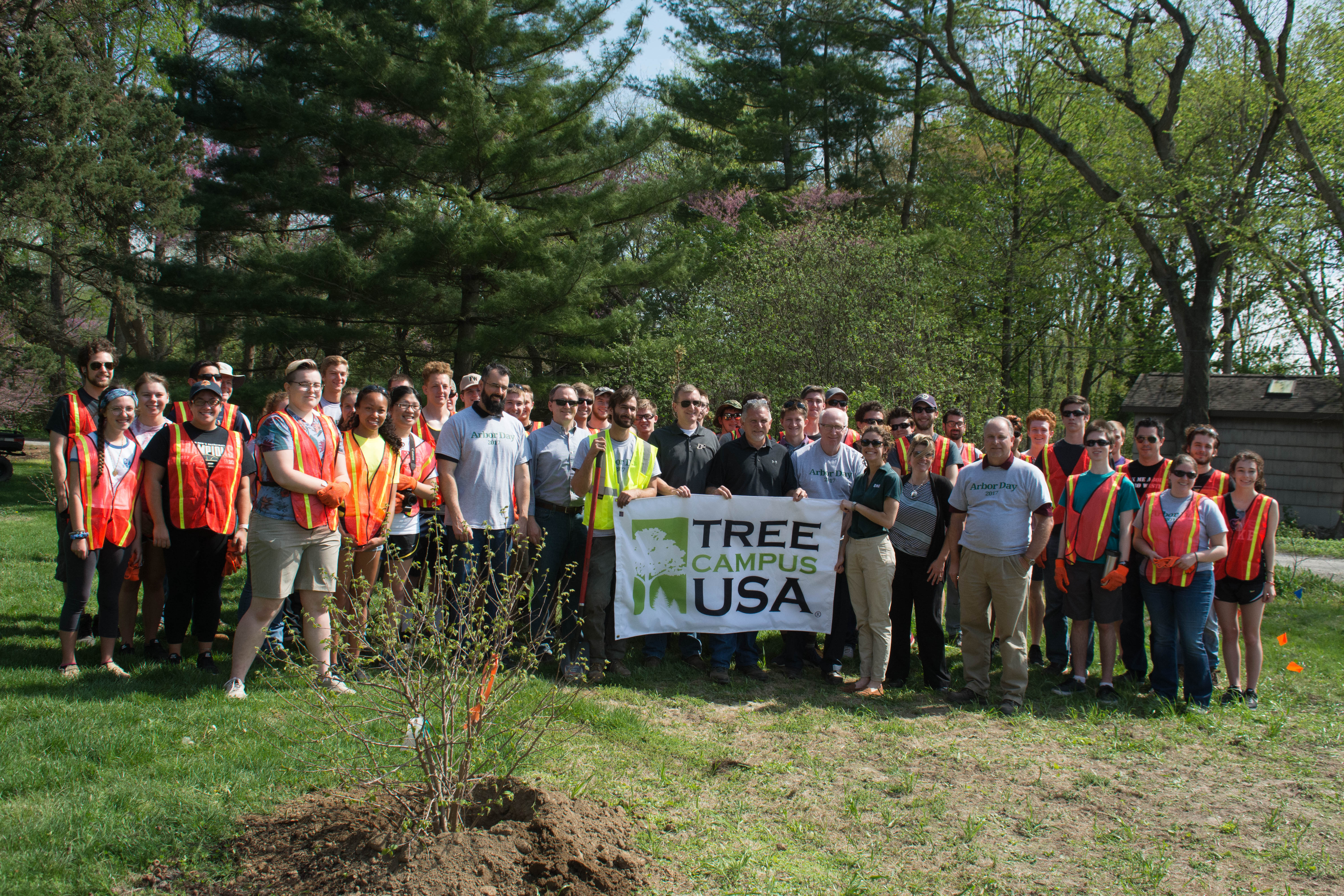 Students and faculty celebrating Arbor Day - Tree Campus USA