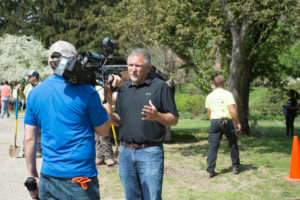Paul Siciliano speaking to reporter