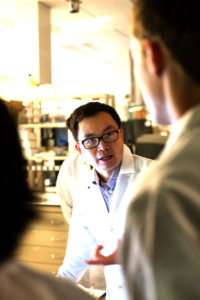 Dr. Deng with students in lab.