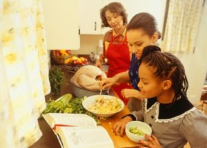 Mother helping daughters prepare food in kitchen