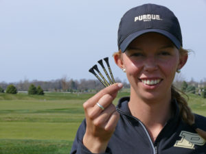 Marta Martin, a senior turf science major from Madrid, Spain, believes that four is her lucky number. During every golf competition she has four golf tees in her pocket to bring her good luck.