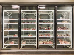 Meat in the case at Boiler Butcher Block