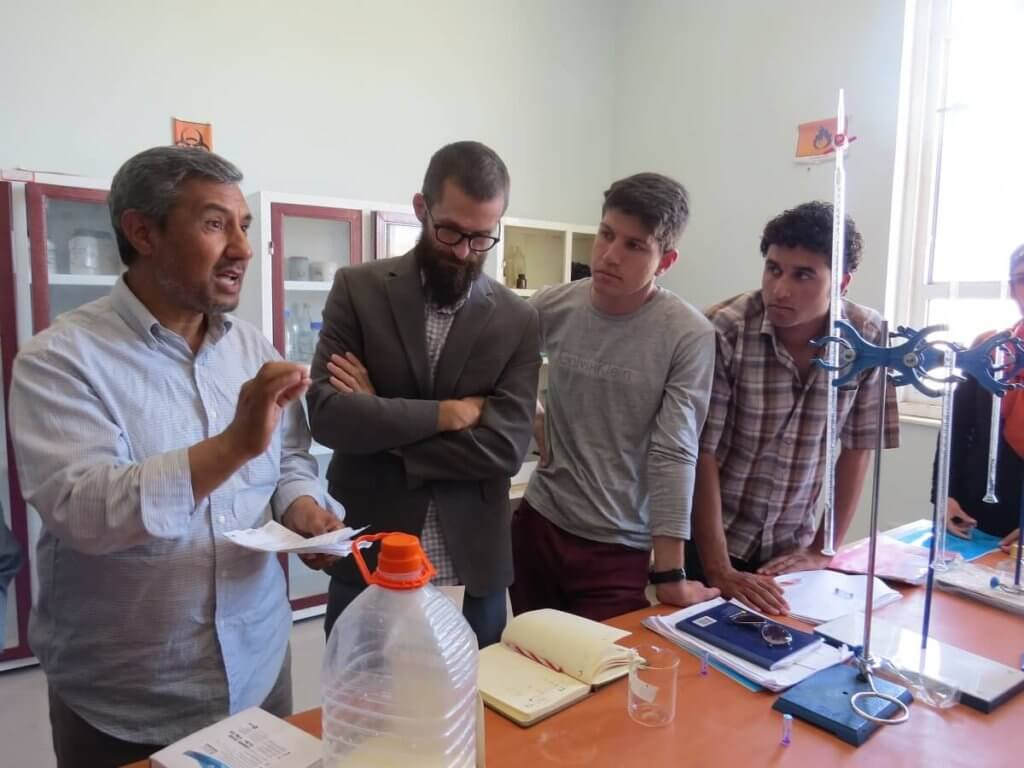 Herat University professor Mohammad Alam Ghoryar teaches students in the food technology program.