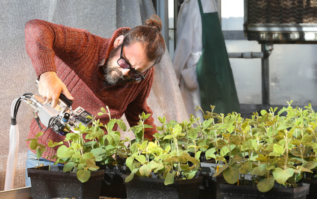 Gordon McNickle uses  an infrared gas analyzer that allows researchers to estimate photosynthetic rates of soybeans. It's one of the many traits the grant allows his lab to measure.