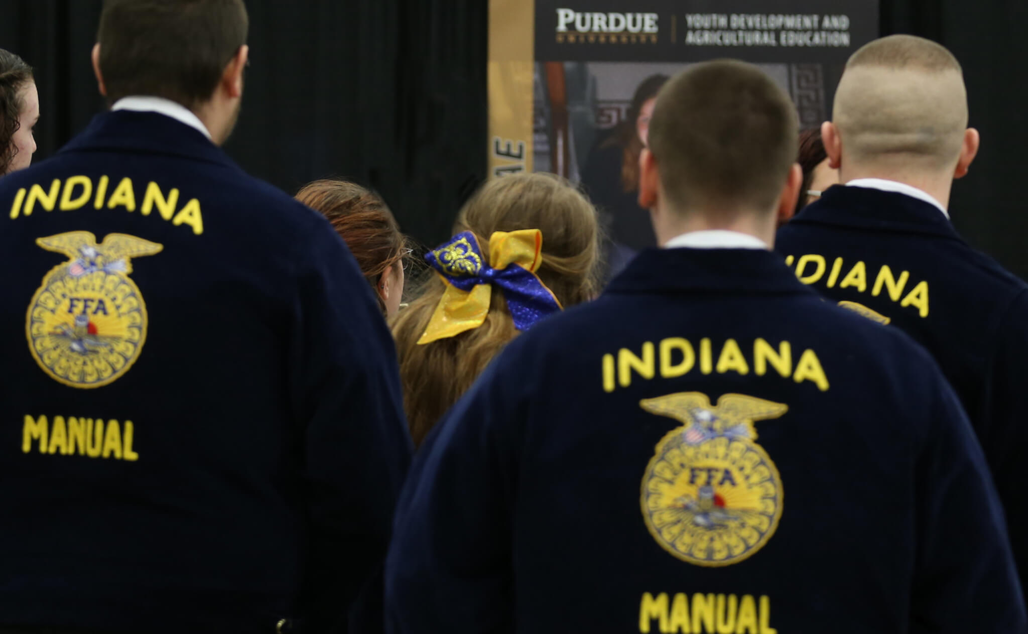 Back of a crowd of FFA Jackets