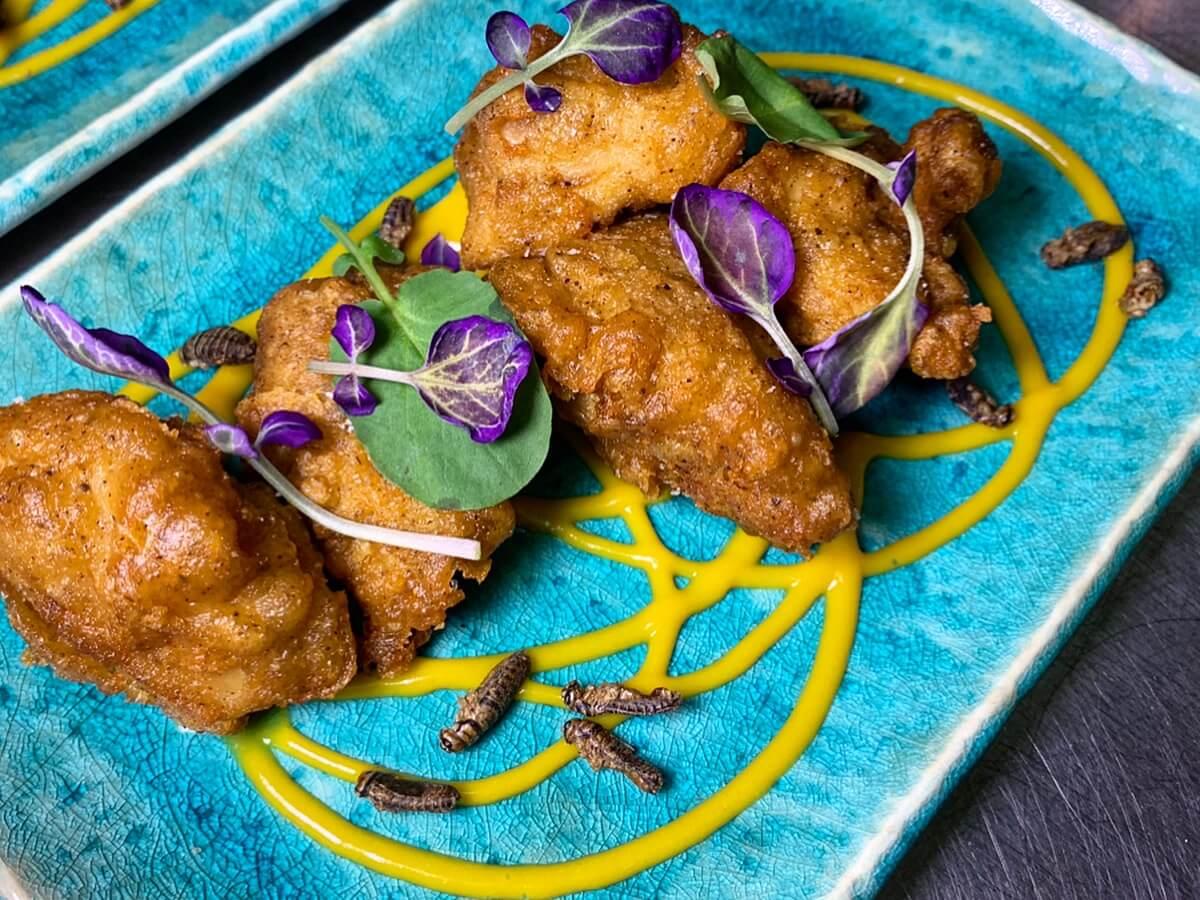 Chicken fried with cricket protein powder.