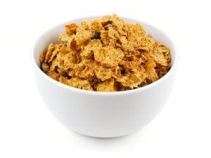 A bowl of bran flakes