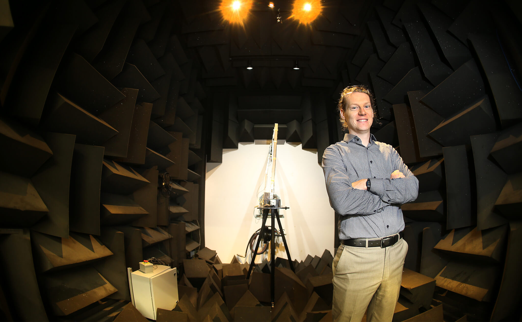 Paul standing among foam in the sound chamber