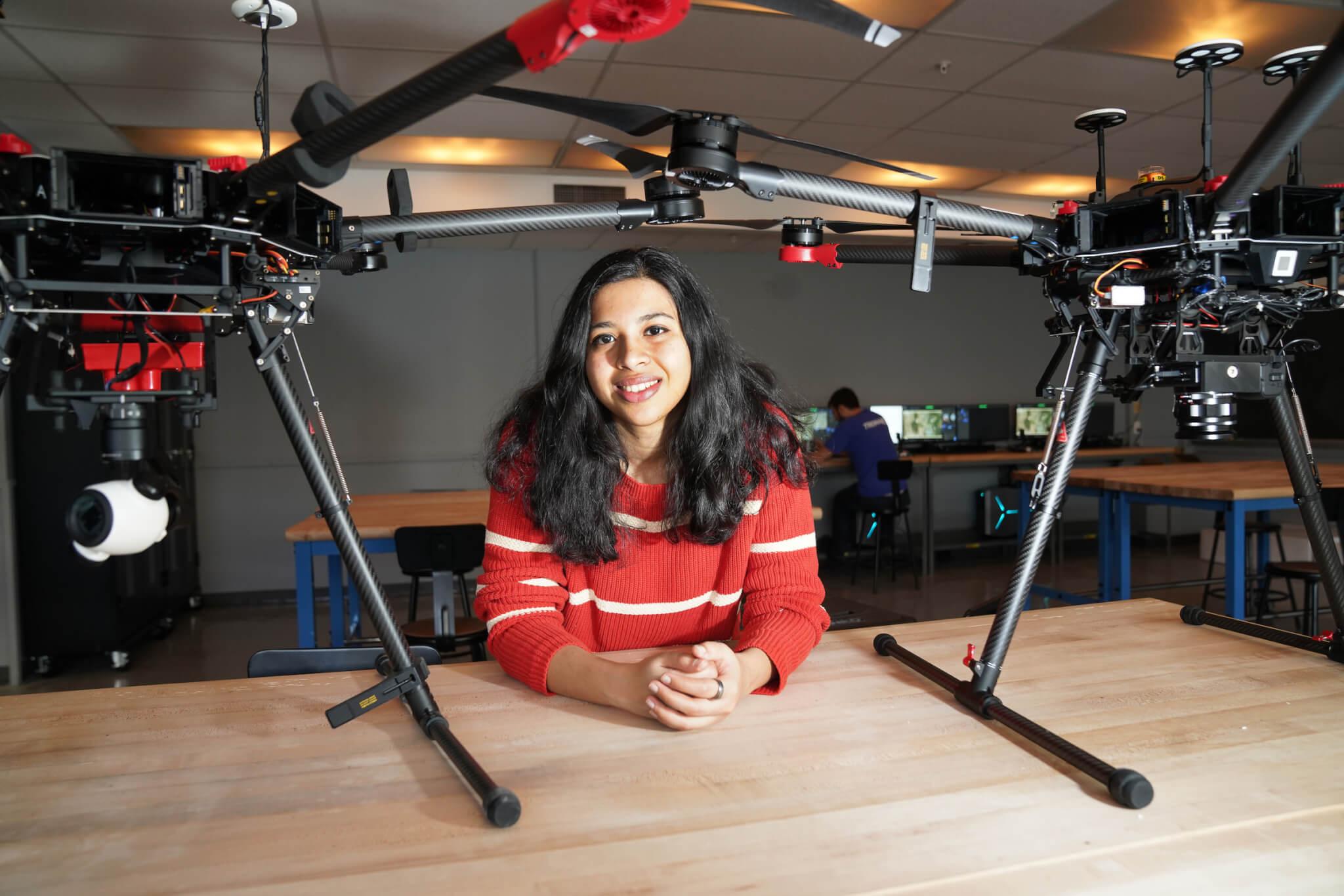 Aishwarya Chandrasekaran with drones